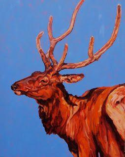 """Colorful Contemporary Wildlife Art, Buck, Stag Painting """"Stag"""" by Contemporary Animal Artist Patricia A. Griffin"""