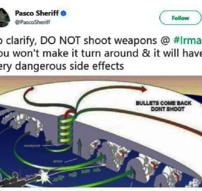 Public Service Announcement: Florida Sheriff Urges Residents to Not Shoot at Hurricane Irma