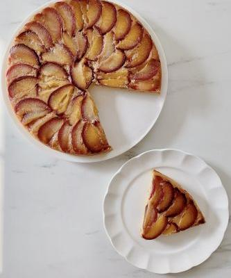 Cornmeal Ricotta Upside Down Plum Cake