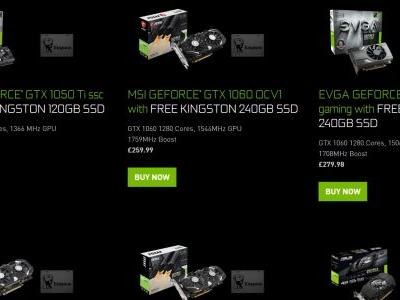 Get a free Kingston SSD when you buy a Nvidia GTX 1050Ti or 1060