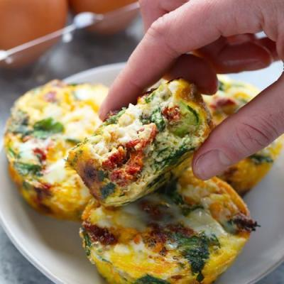Spinach and Sun Dried Tomato Egg Cups