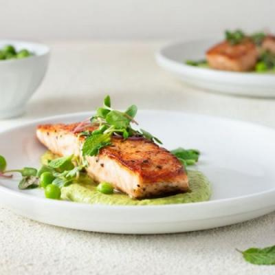 Salmon and Pea Puree with Mint