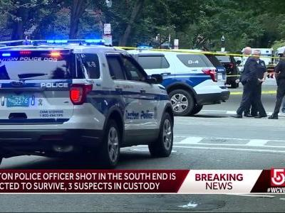 Police: Officer shot in leg in South End; 3 in custody