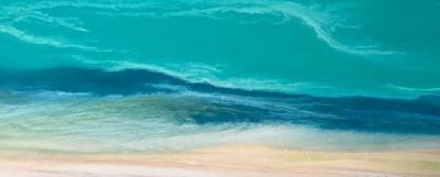 "Contemporary Abstract Seascape Art Painting ""Caribbean Waters II"" by Colorado Contemporary Artist Kimberly Conrad"