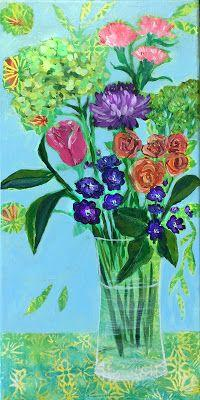 """Hydrangea, Expressive Still Life Floral Painting, Colorful Original Flower Art, """"EARLY SPRING"""" by Texas Contemporary Artist Jill Haglund"""