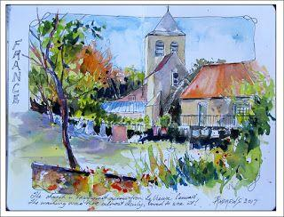 France Journal Entry..The Church in Frayssinet..Watercolor..Texas Artist..Rae Andrews