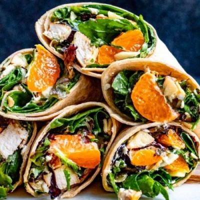 Healthy Chicken Wrap with Oranges