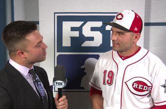 Nick Swisher talks with All-Star first baseman Joey Votto