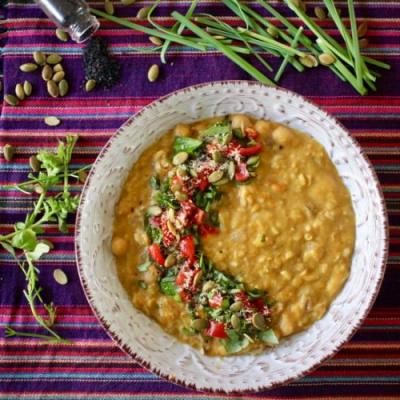 Thai pumpkin, corn, chickpea stew