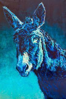 """Colorful Contemporary Animal Art Donkey Painting """"Walter """"by Contemporary Animal Artist Patricia A. Griffin"""