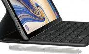 Samsung Galaxy Tab S4's optional keyboard cover and stylus exposed