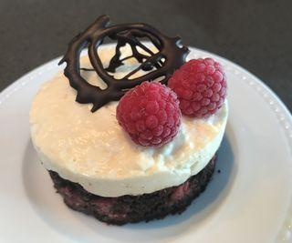 Brownie- Based Lemon Mousse With Raspberry