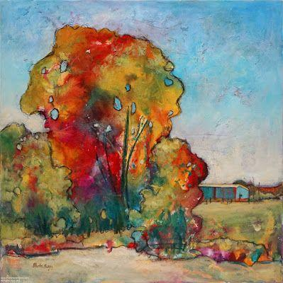 """Contemporary Landscape, Tree Painting, Mixed Media, """"Don't Forget"""", By Passionate Purposeful Painter Holly Hunter Berry"""