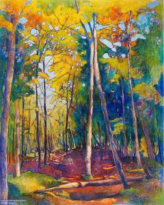 """Contemporary Landscape, Tree Painting, Mixed Media, """"Off The Main Road In Search Of."""", By Passionate Purposeful Painter Holly Hunter Berry"""