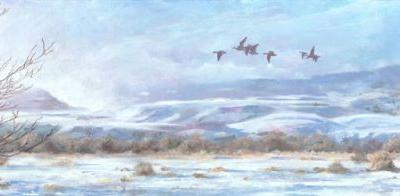 "Colorado Winter Landscape, Wildlife Painting ""Fog Burns Off"" by Colorado Artist Nancee Jean Busse, Painter of the American West"