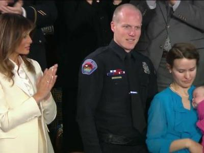 Trump introduces New Mexico police officer who adopted baby from opioid-addicted mother