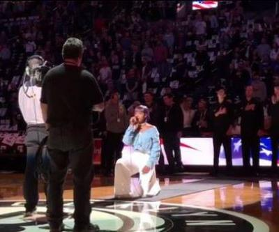 'They might never invite me back': Nets anthem singer takes a knee