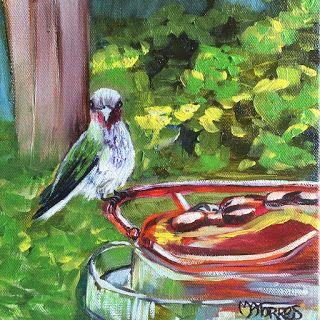 Table for One, by Melissa A. Torres, 8x8 oil on canvas