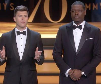 """Colin Jost Says Roseanne Barr Canceled """"Herself,"""" Was """"Picked Up By White Nationalists"""" At 2018 Emmys"""