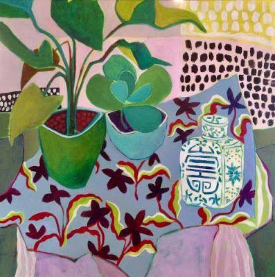 "Bold Expressionist Still Life Flower Art Painting ""Anything Goes"" by Santa Fe Artist Annie O'Brien Gonzales"
