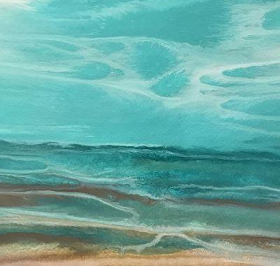 "Abstract Seascape,Beach, Ocean Coastal Living Decor ""Emerald Reflections"" by Colorado Contemporary Artist Kimberly Conrad"