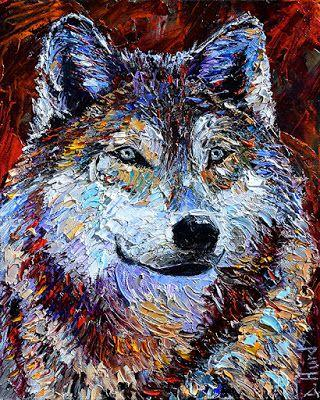 "Palette Knife Wolf Oil Painting,Wildlife,""Predator"" by Texas Artist Debra Hurd"