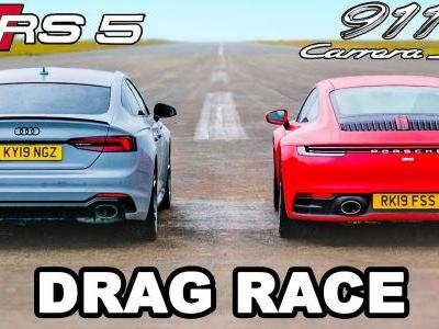 Porsche 911 Carrera S vs Audi RS5 Sportback Drag Race Is Rather Close