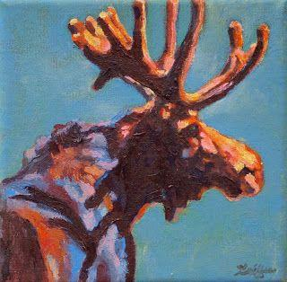 """Colorful Contemporary Wildlife Animal Art,Moose Painting """"Black Velvet"""" by Contemporary Animal Artist Patricia A. Griffin"""