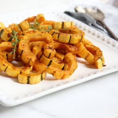 Maple Dijon Roasted Delicata Squash