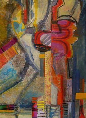 """Original Abstract Mixed Media Collage """"Night Train"""" by New Orleans Artist Lou Jordan"""