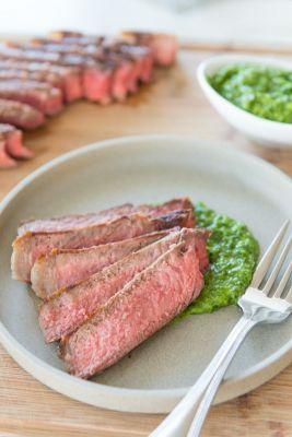 Steak with Scallion Chimichurri Sauce