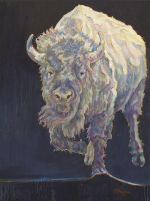 """Wildlife Art Painting, Bison """"Mystic"""" by Western Masters Contemporary Animal Artist Patricia A. Griffin"""