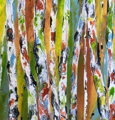 "Contemporary Abstract Aspen Tree Painting ""The Color Dance V"" by International Contemporary Artist Kimberly Conrad"