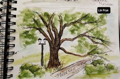 Travel Journal - A quick sketch of one of Savannah's Squares