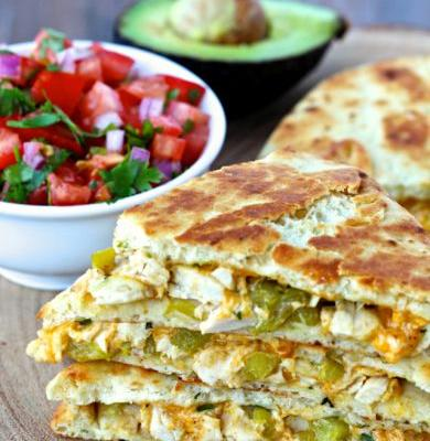 Dining with the Doc: Chicken and Green Chile Naan Quesadillas