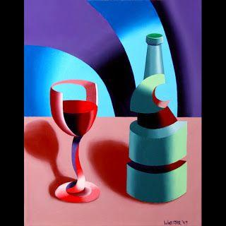 Mark Webster - Abstract Futurist Wine with Bottle Still Life Oil Painting