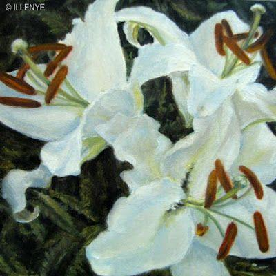 White Oriental Lilies 4x4 in. still life oil painting little gems