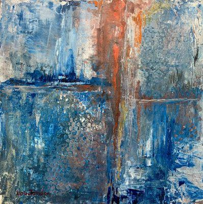 """Abstract Painting, Expressionist Art, Contemporary Art """"Ice Age I"""" by Virginia Contemporary Artist Lou Jordan"""