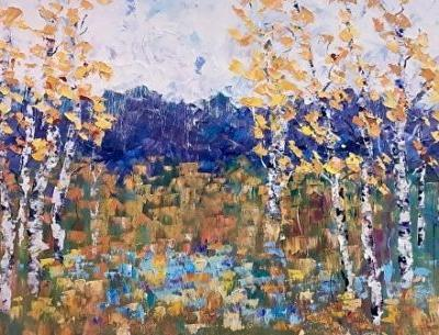 "Palette Knife Aspen Tree Impressionist Landscape Painting ""Summer Spirit II"" by Colorado Impressionist Judith Babcock"