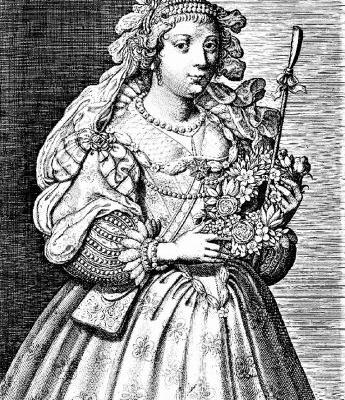 Flora holding a wreath of spring flowers by Jean Leblond 1605-1666