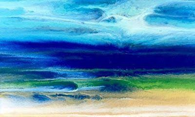 """Ocean, Abstract Seascape Painting,Coastal Art , Expressionism """"CARIBBEAN DREAMS"""" by International Contemporary Seascape Artist Kimberly Conrad"""