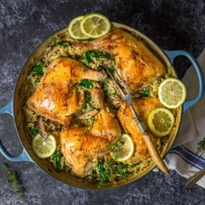One-Pan Chicken with Orzo