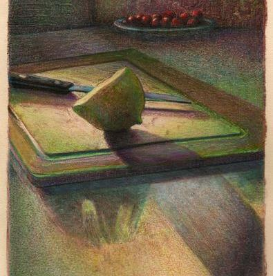 Monotype Print Still Life with Colored Pencil