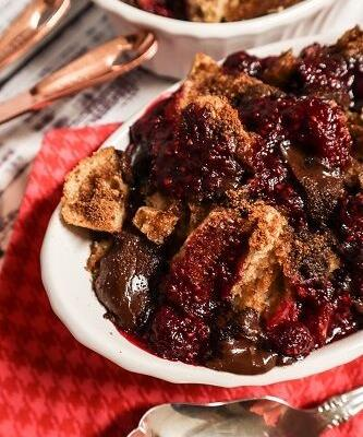 Vegan Raspberry Chocolate Chunk Bread Pudding