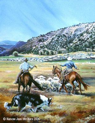 """Original Western Landscape Painting """"Working The Release Pen"""" by Artist Nancee Jean Busse, Painter of the American West"""