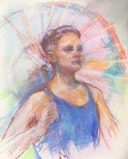 "PARASOL - 12"" x 9"" pastel sketch by Susan Roden"