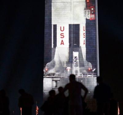 The Washington Monument displayed a mesmerizing tribute for the 50th anniversary of the Apollo 11 moon landing