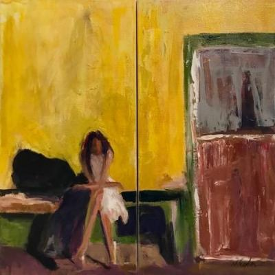 "Contemporary Female Figurative Oil Painting, Interior View,White Dress ""APRES DANCE"