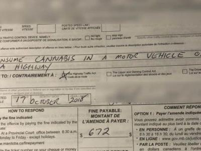 Canadian Cops Issue First Ticket For Driving While Smoking Weed Just One Hour Into Legal Weed