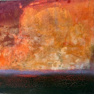"""Contemporary Mixed Media Landscape Painting """"Prairie Sunset"""" by Intuitive Artist Joan Fullerton"""